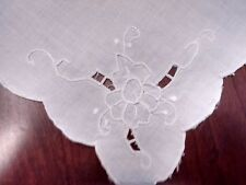 SIX 1970'S Vintage Embroidered Cut Work Eyelet White on White Linen Napkins