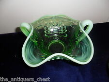 Vintage green vaseline? glass two handle bowl with opalescent  edge[10]