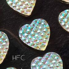 Self Adhesive AB Diamante Hearts. 24pcs, 16mm. Stick on Gems. Wedding, Invites