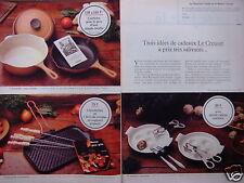 PUBLICITÉ 1981 LE CREUSET SERVICE A ESCARGOTS COCOTTE POËLE GRIL - ADVERTISING