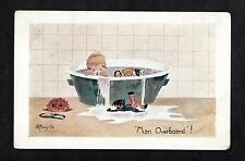 C1930s Comic/ Cartoon - Boy in bath with toys - 'Man overboard'