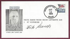 Fritz Karch, German WWII Luftwaffe Air Ace, Signed Postal Cover, COA UACC RD 036