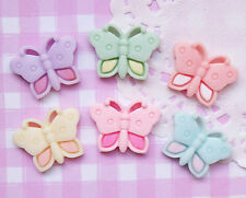 6 x Colourful Butterfly Flat Back Cabochons Kitsch Decoden Kawaii - UK SELLER!!