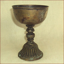 VERY OLD ANTIQUE BRASS TIBET TEMPLE OIL BUTTER LAMP