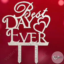 Best Day Ever Acrylic Wedding Cake Toppers Engagement Party Decorations Silver
