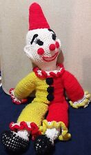 Vintage Large Hand Crocheted Clown Doll