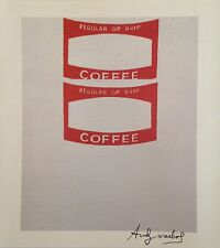 FAMILIAR ANDY WARHOL HAND SIGNED SIGNATURE * COFFEE LABEL*  PRINT  W/ C.O.A.