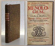 Jo. Alberti Fabricii Menologium 1712 Monatsbuch Monatsnamen Kulturgeschichte xz