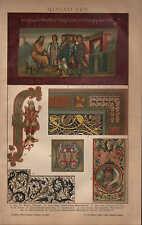 Chromo-Lithografie 1902: MINIATUREN. Wien Genesis Irland Manuskript Psalter Buch