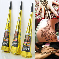 Natural Herbal Henna Cones Temporary Tattoo Kit Body Art Paint Mehandi Ink Black