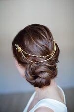 Bridal Hair Vine Boho Gold Head Chain Leaves Tiara Headband Crown Headpiece