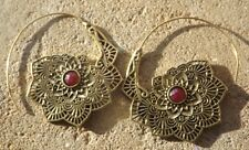 Handmade brass Indian ethnic design earrings ruby red cut stone cabochon