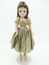 "Vintage 1950's  20"" Cissy Doll  Brown Hair Green Eyes Blue Green Floral Dress"