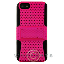 Apple iPhone 5/5S/SE Hybrid Mesh Case w/ Stand - Hot Pink Cover Shell Protector