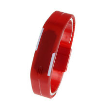 Ultra Thin Unisex  Watches Silicone Digital LED Sports Bracelet Wristwatch red