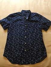 Men's J CREW Blue Sailboats Short Sleeve Button Up SHIRT Sz L Large NWOT New