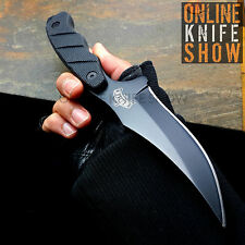 "9"" BLACK TACTICAL SURVIVAL Full Tang FIXED BLADE KNIFE Military Hunting + SHEATH"