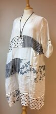 "WHITE LINEN SUMMER PATCHWORK DRESS-48""BUST- FITS 16-18-20UK-LAGENLOOK POLKADOT"