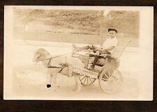 1918-1930 Cool Boy ON THE WAY HOME riding in Goat Cart ~ Vintage RPPC postcard
