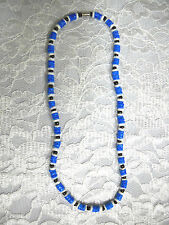 ROYAL SEA BLUE & WHITE ROUNDED PUKA SHELL BEADS w BLACK ACCENTS SURF NECKLACE