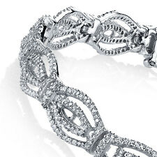Sterling Silver Designer Tennis Linked Tennis Bracelet Evening Wear Fancy CZ