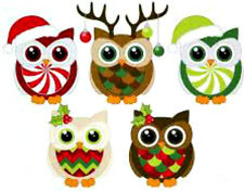 20  WATER SLIDE NAIL ART DECALS christmas owls cute 3/8th inch.