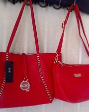 NWT AUTHENTIC BCBG PARIS REVERSIBLE RED / OFF WHITE TOTE & CROSSBODY BAG $168