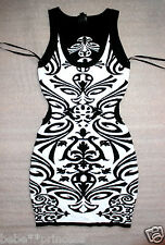 NWT bebe top black white cutout back sweater floral print bodycon dress XL 12