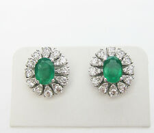 2.76 CT Emerald & Diamond Earrings F SI1 in 18KT White Gold