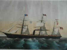 2) Lithographie ancienne marine Silber,Hambourg American steam ship Allemagne