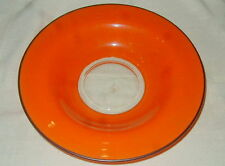 OLD ORANGE & BLACK ENAMELED GLASS FRUIT BOWL, CENTERPIECE,  ART DECO