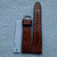 19mm Handmade Blrown Genuine Ostrich Leather Watch Strap Band w/ Buckle #35