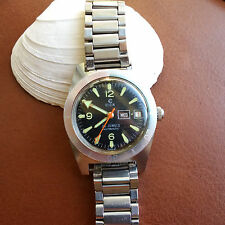 Vintage Elgin Day-Date Divers Watch w/Mint Dial,Patina,Faded Bezel,All SS Case