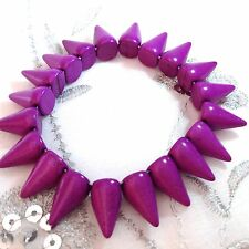 NEW ELASTICATED PURPLE DYED HOWLITE SPIKE DESIGN BRACELET, GOTHIC, STRETCH