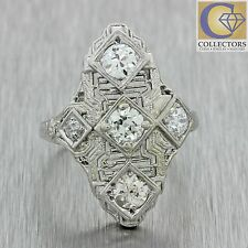 1920s Antique Art Deco Solid Platinum 1.05ctw Diamond Filigree Navette Ring