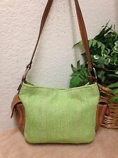 Fossil Green Straw Leather Trim Hobo Handbag Shoulder Bag 75082 VG