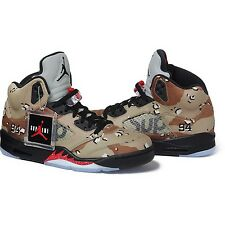 SUPREME x Air Jordan 5 V Retro Camo Size 8 box logo camp cap tnf F/W 15