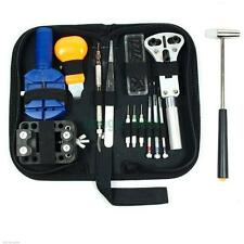 14pcs Watch Repair Tools Kit Opener Link Spring Bar Hammer Remover w/ Carry Case