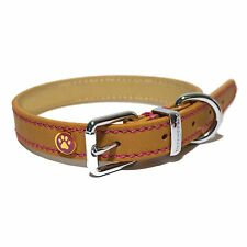 Rosewood Luxury Leather Dog Collar 10 - 14-inch Tan