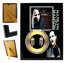 MARILYN MANSON - A4 SIGNED FRAMED GOLD VINYL COLLECTORS CD DISPLAY PICTURE