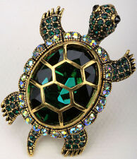 Big turtle stretch ring animal bling scarf jewelry gift 5 dropship gold green