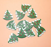 12 Flat Wooden Small Christmas Tree Card Topper Embellishments