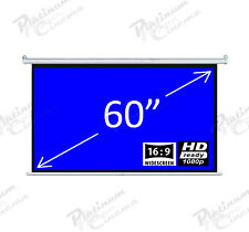 "New 60"" Electric Motorized HD Projection Screen Widescreen 16:9 Matt White"