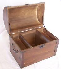 LARGE WOODEN TREASURE CHEST STORAGE BOX W SHELF old looking s#001 dentist prizes
