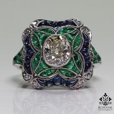 Antique Art Deco Platinum Diamond & Sapphire & Emerald Ring