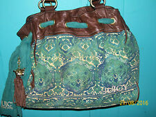 JUICY COUTURE AQUA PAISLEY TOTE LARGE HANDBAG CANVAS/LEATHER