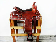 "15"" WESTERN COWBOY SILVER STAR TOOLED LEATHER SHOW TRAIL PARADE SADDLE TACK"
