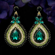 18K Gold Plated GP Green Crystal Rhinestone Drop Chandelier Dangle Earrings 6064