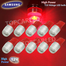 10 x High Power 1W T10 Wedge Samsung LED Red Car Interior LED Bulbs 12V 192 921