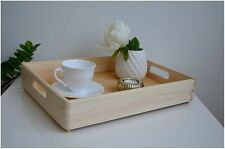 Large Plain Pine Wood Serving Tray Storage Wooden Box Crate Craft 40x30x7